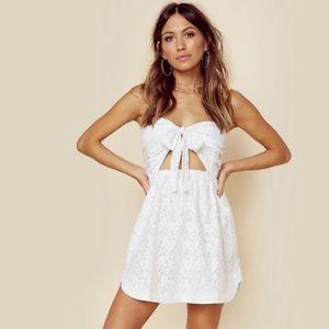 For Love & Lemons Strapless Tie Front Dress